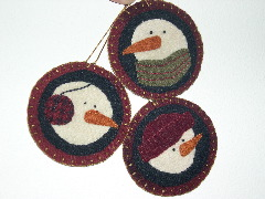wool felt snowmen ornaments