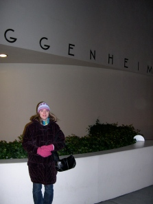 Terri in front of the Guggenheim