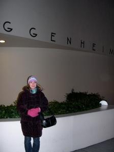 Terri in front of the Guggenheim
