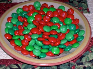 plate of red-green MnMs