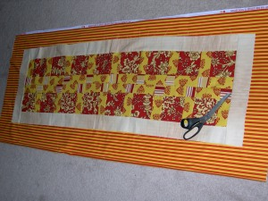 red-yellow table runner