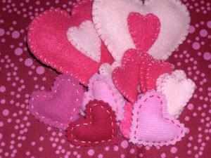 pile of felt hearts