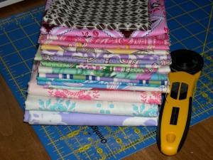 Stack of Mod Girls fabrics
