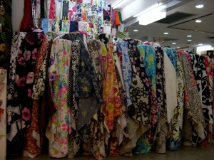 bolts of fabric at Highsun market