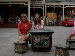 my mom and I at the Foshan pottery market
