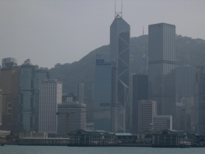views of Hong Kong from the ferry boat