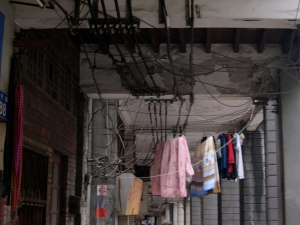 more laundry hanging from wires!