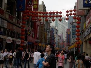 Chinese lanterns framing pedestrian mall