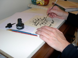 logo painting in progress
