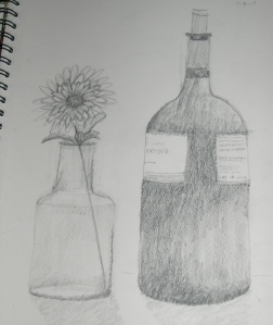 still life of bottles