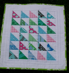 triangle square mini quilt