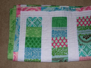 binding on coin quilt