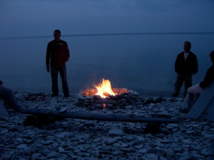 bonfire at dusk