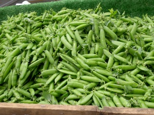 sugar snap peas at market