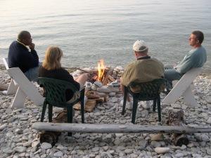chillaxing around the bonfire