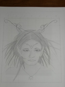 my drawing of the Raven Faery face