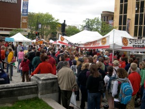 crowds at the August market