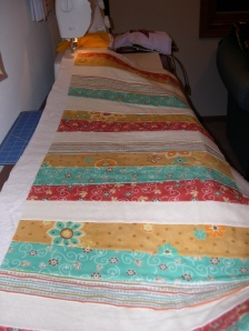 fall table runner ready to be quilted