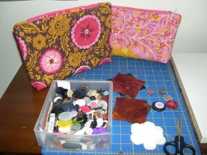 embellishing the makeup bags