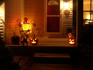 front porch on Halloween