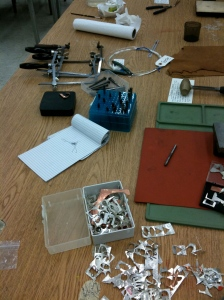 silver tools and work stations