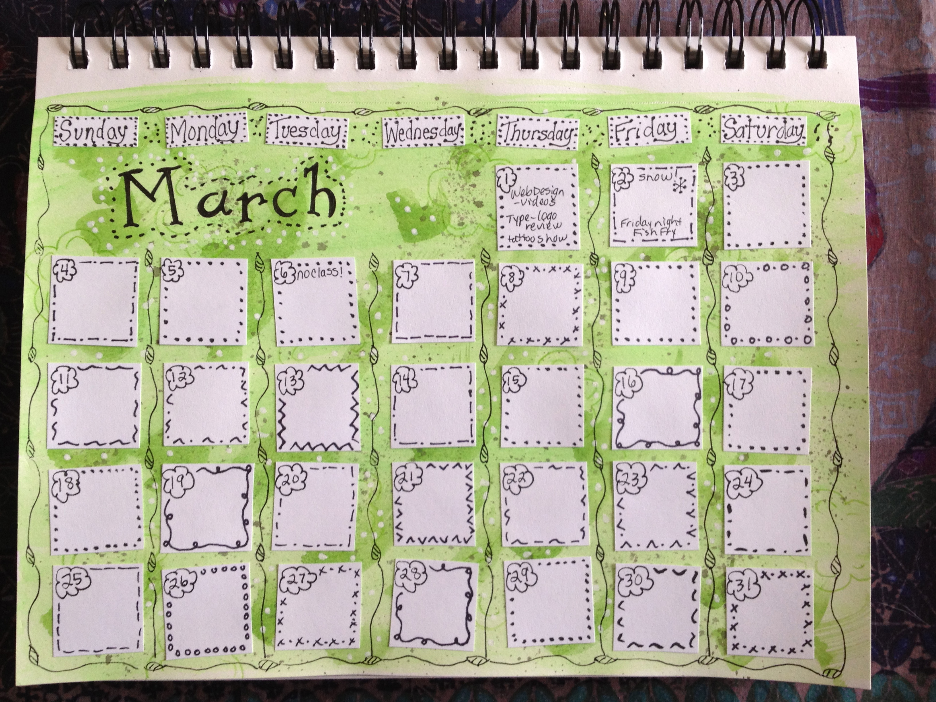 March Calendar Ideas : Sketchbook pages calendar and close ups terri s notebook