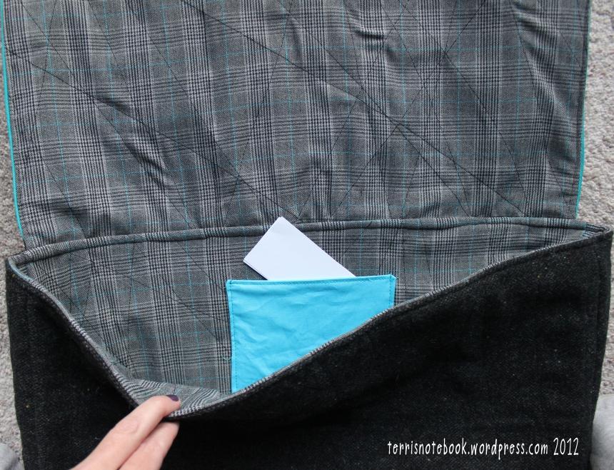 portfolio lining and biz card pocket
