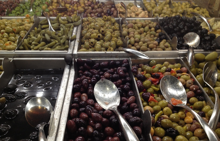 olive bar at Whole Foods
