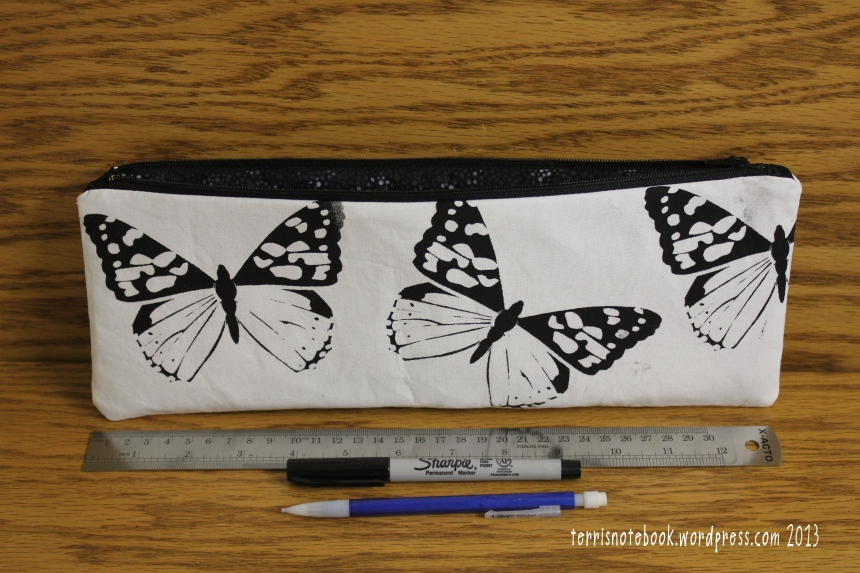 butterfly pencil pouch front