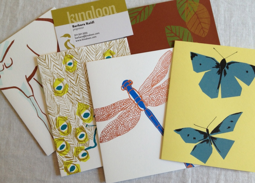 Kinaloon screenprinted notecards