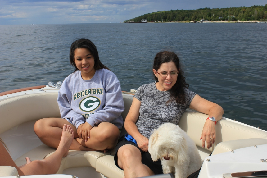 Abby and MK on the boat