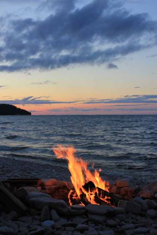 bonfire at sunset