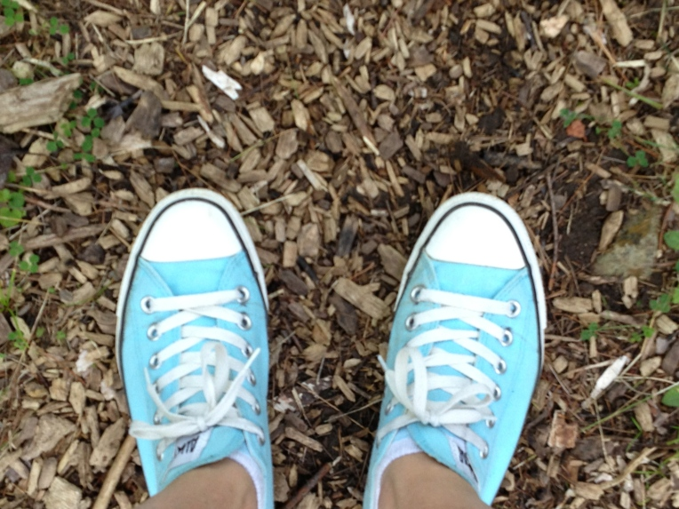 blue chucks on the trail