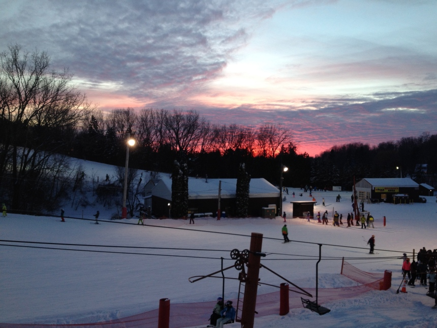sunset after skiing