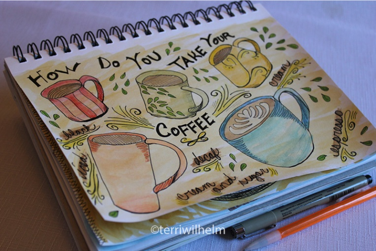 sketchbook page coffee cups-page