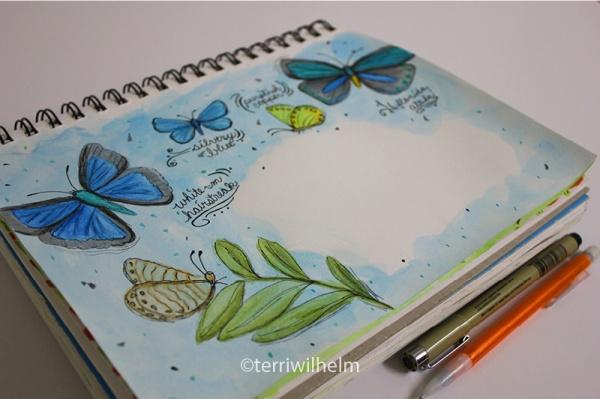 sketchbook butterfly letter
