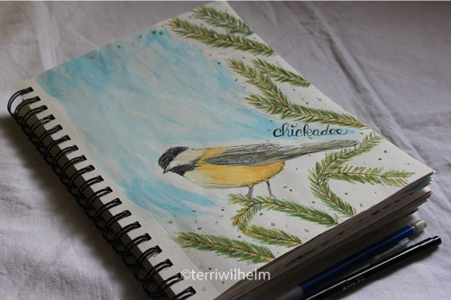 sketchbook page chickadee letter