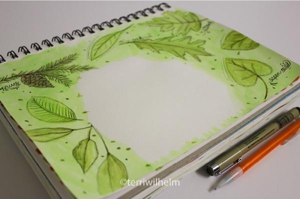 sketchbook leaves letter