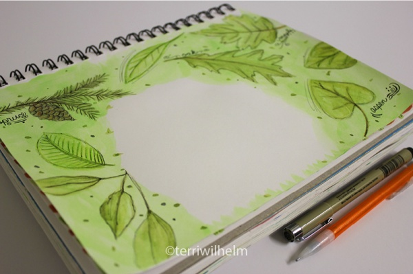 sketchbook leaves letter