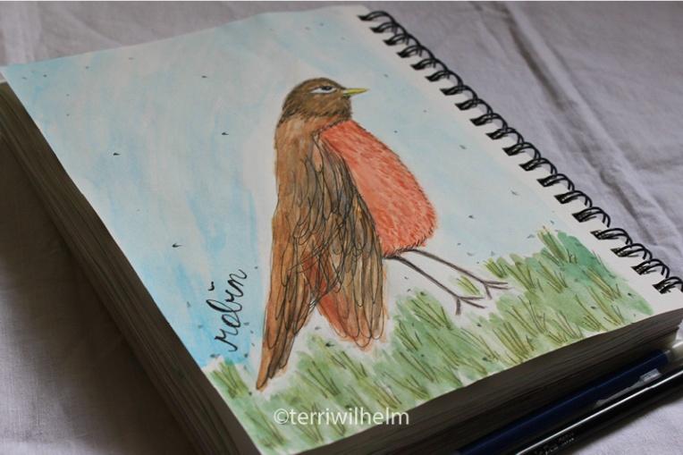 sketchbook page robin letter