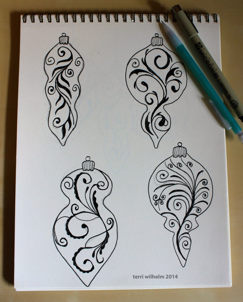 ornament sketches for Nancy's Notions