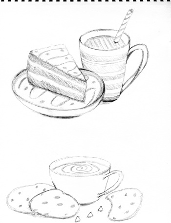 cake and hot chocolate sketches