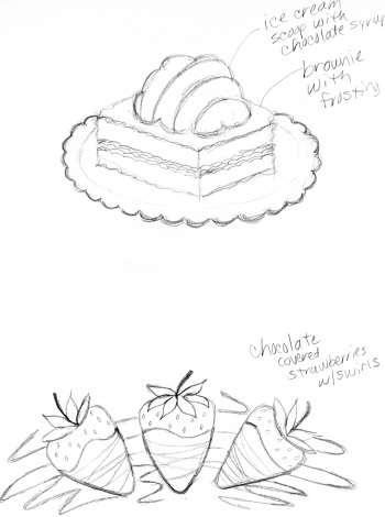 brownie and strawberries sketches