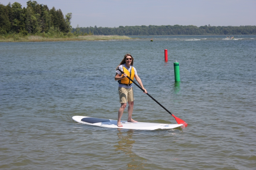 me on a paddle board