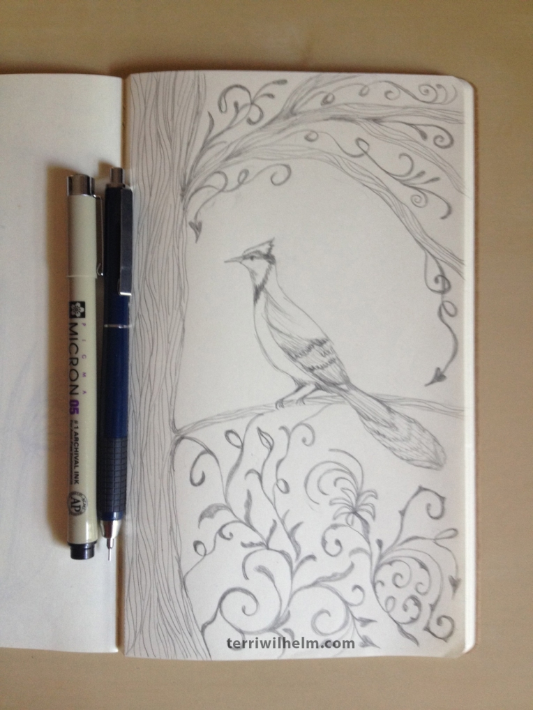 sketchbook page bird in a tree