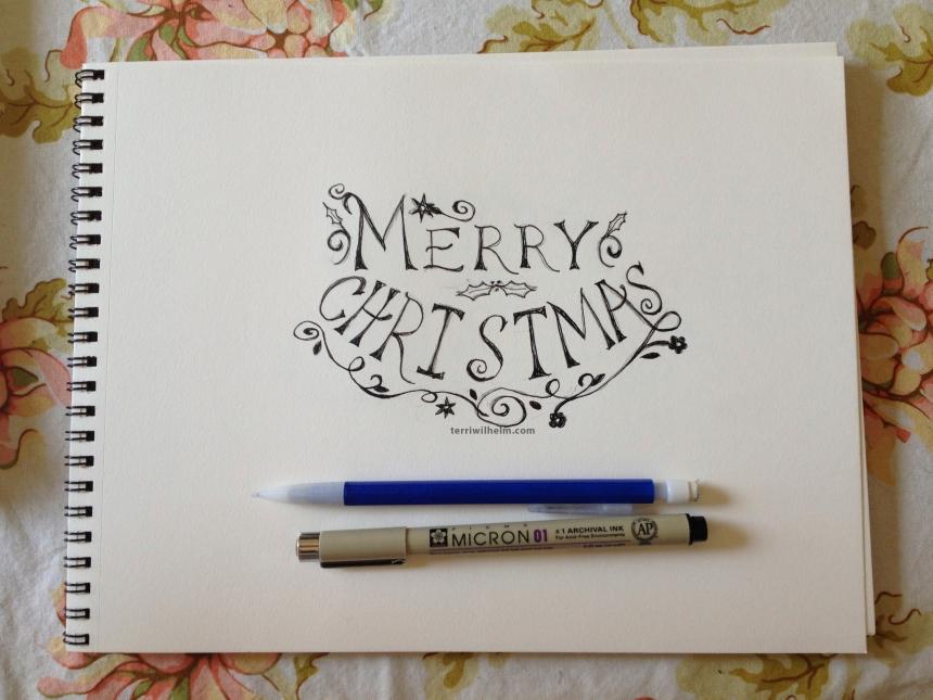 sketchbook christmas card drawing 1