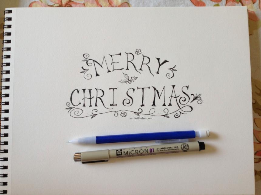sketchbook christmas card drawing 2