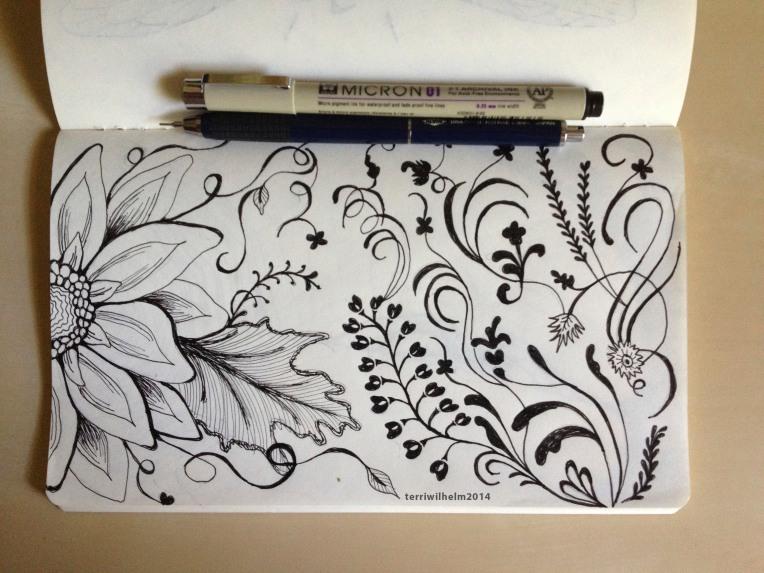 sketchbook flower flourish