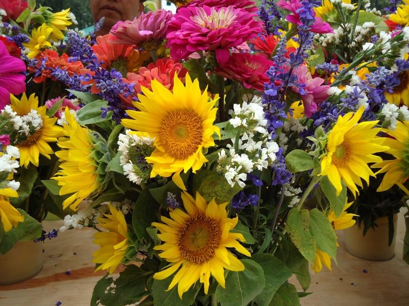 sunflower bouquet at market