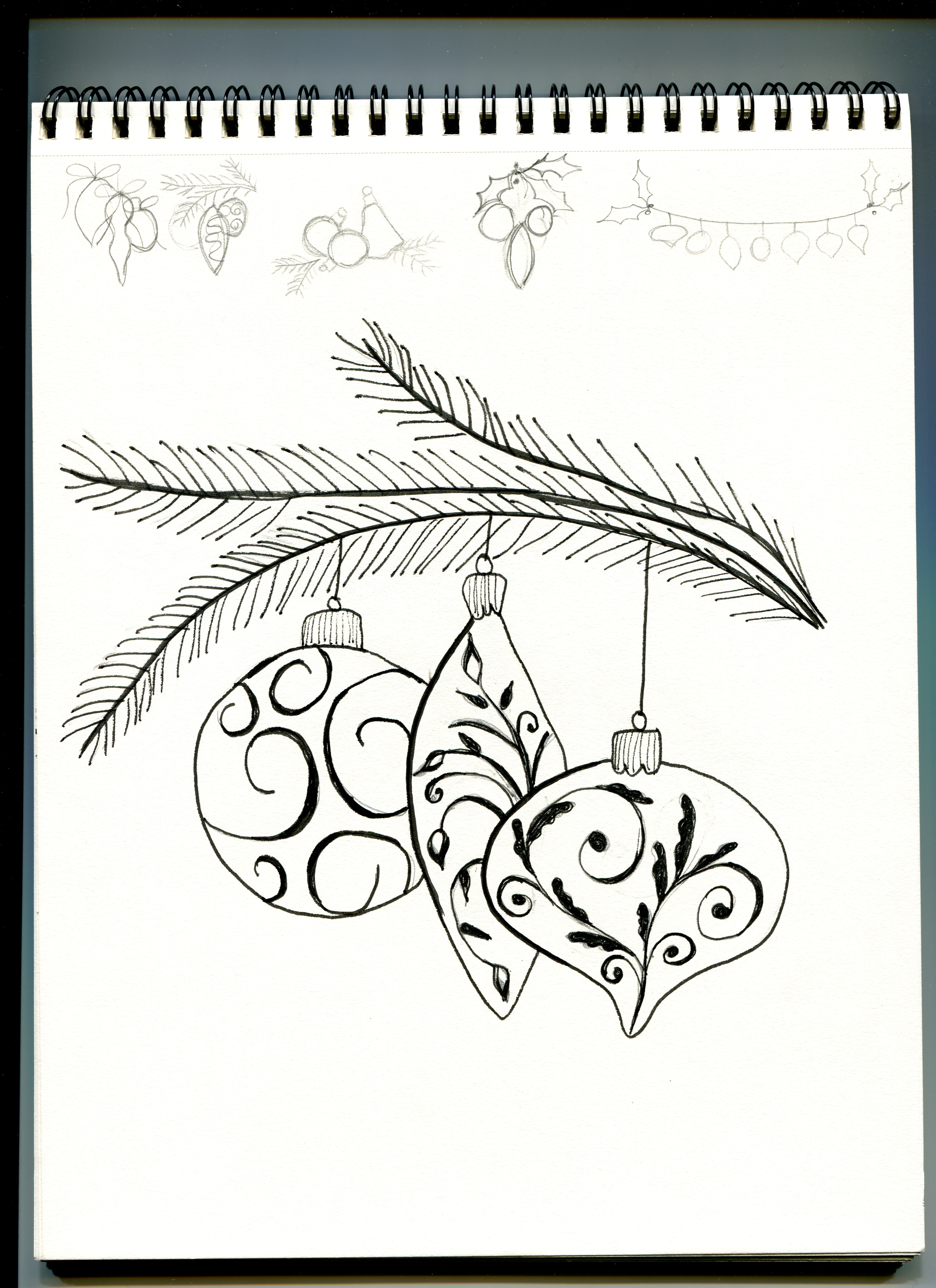 Christmas ornament sketch licensed art iridescent christmas ornaments